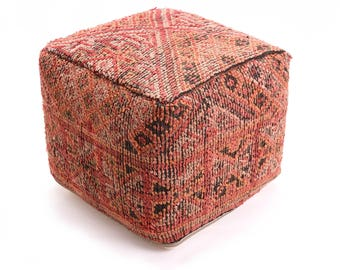 Moroccan Pouf, Floor Cushion, Berber Kilim Pouf Ottoman, Floor Pillow, Foot Stool, Refashioned from a Vintage Berber Rug. PVR029