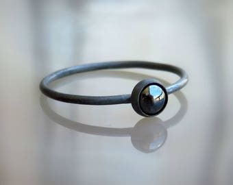 Black Onyx Ring / Black Stone Ring / Oxidized Silver Ring / Black Onyx Jewelry