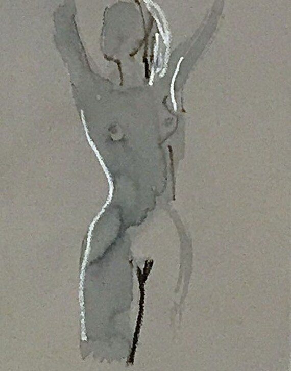 Nude painting of One minute pose 114.1 nude art, original, gesture sketch by Gretchen Kelly