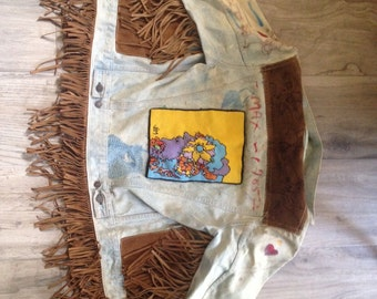 Peter Max Original - Fringe Jacket with Art by Peter on Exterior & Interior - One of a Kind