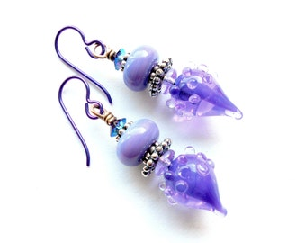 Earrings, artisan-made lampwork glass and silver, orchid, lilac, feminine, small, lightweight, richly colored, handcrafted, gift for her