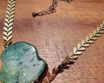 emerald agate choker >>  Knight's Lagoon Choker << brass  chevron handmade