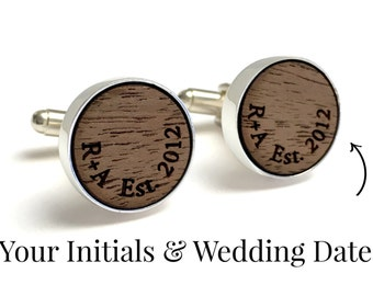 5 Year Anniversary Gift // Personalized Walnut Wood Cufflinks // Wood Anniversary Gifts for Him // Your initials and wedding date engraved