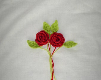3D Lot of 2 Red Crochet Flowers with 4 Leaves Applique - 3D Ruffled Rose, Handmade Applique Embellishment in Red size 2""