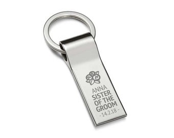Engraved SISTER of the GROOM keyring wedding gift, personalised chromed metal keychain, flower posy bouquet - 7537-FL9