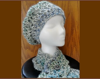 Crochet Chunky Shell Beret and Button Neckwarmer Scarf Cream Blue Green Purple Scarflette Hat