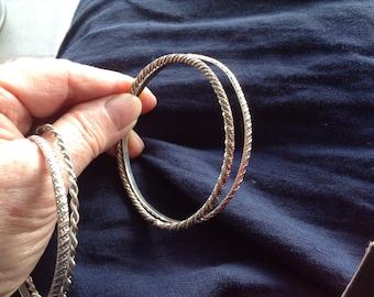 Ethiopian silver bangles, vintage  1960 set (2).  Wearable silver bracelets Ethiopia. Good silver 835/1000. Boho  silver bangles.