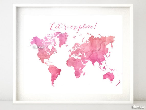 Printable watercolor world map lets explore quote gumiabroncs Image collections