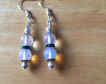 Moonstone silver sparkle earrings
