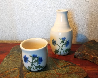 Handmade Ceramic Thistle Flower Carafe and Cup
