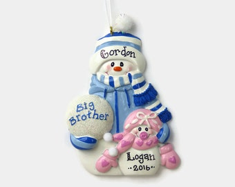 Big Brother Little Sister Personalized Ornament - Hand Personalized Christmas Ornament
