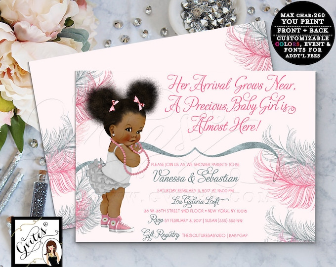 Pink and Silver baby shower invitation, printable invites, Afro Puffs african american baby girl gray pink double sided, Gvites #RBNAPU005