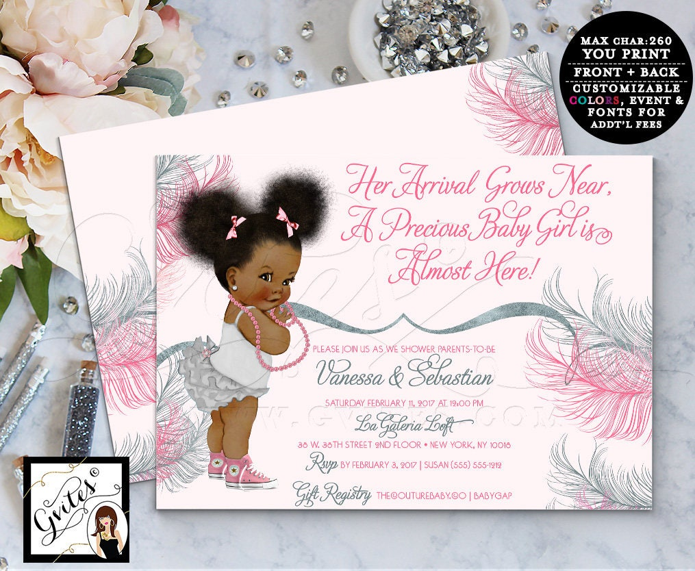 Pink and Silver baby shower invitation, printable invites, Afro ...