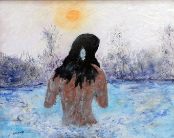Spring Bath. Original 8x10 impressionist painting by Charlie Stone. Native American Indian. Woman. Framed. Ready to hang. Free shipping.