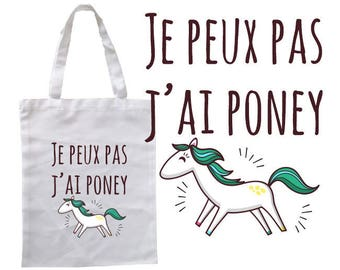 "TOTE BAG 100% cotton ""I can't I pony"" 2017"