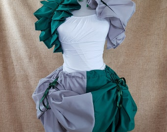 Witch Wizard Half And Half Green And Silver Bustle Skirt-One Size Fits All