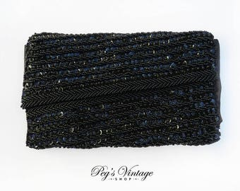 Black Beaded Goldco Evening Clutch Bag, Sequined Evening Vintage Purse, Formal Wedding Clutch Purse