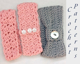 Three Headband Crochet Pattern, Summer Crochet Pattern, Beginner Head Band Pattern,  Ear Warmer Pattern, Stocking Stuffer, Digital Download