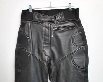 Vintage IXS LEATHER PANTS , women's motorcycle leather pants .............(080)