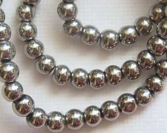 Silver Glass Beads Strand 80 Pcs | Silver Beads | 4mm Beads | Round Beads | Beads for Jewelry Making | Silver Jewelry Beads | Craft Beads