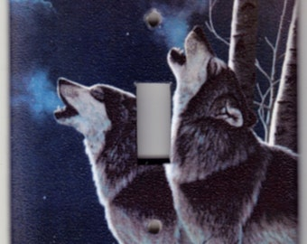 Wolves Howling at the Moon Switchplate Cover - Single Jumbo size (531)
