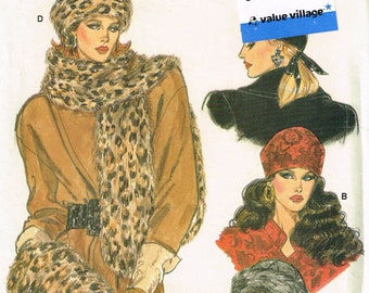 Women's Vintage Fur Hat Sewing Pattern  - Misses' Winter Hat Pattern - Misses Muff Pattern - Vogue 9981