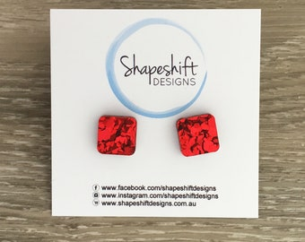 Chunky Red Glitter Stud Earrings - Acrylic - Square (rounded edge) 12mm