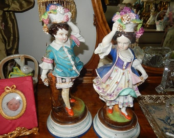 GERMANY DRESDEN FIGURINES of Man and Woman With Fruit Baskets
