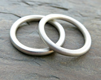 Set of 2 Perfectly Round Heavy Sterling Band Stacking Rings - Minimalist Matching Wedding Ring Set - Thick Full Round Rings, Halo Rings