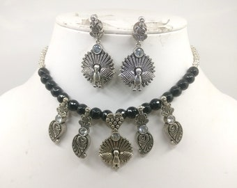 Choker Necklace Set Jewelry Oxidized Indian Ethnic Bollywood Style Fashionable Onyx Stone