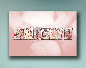 Custom Family/Boy/Girl/Baby Name and Picture Pop Art Canvas [FREE Shipping!]