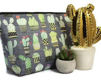 Extra Large Cosmetic Bag - Toiletry Bag - Travel Bag - Makeup Bag - Wet Bag - Accessory Pouch -  in Cactus Hoedown