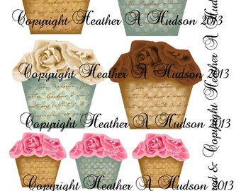 Shabby Chic Cupcakes Digital Collage sheet