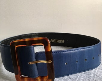 70s Blue Leather Belt / Brown buckle blue leather belt/ High waist belt