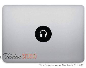 Music Headphones Macbook Decal / Music Headphones Icon Macbook Sticker / Eearphones Vinyl Decal Laptop Notebook Macbook Air Pro Skin - T006