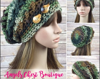 READY TO SHIP - Crochet Slouchy Beanie Winter Hat With Two Wooden Buttons by Angel Chest Boutique