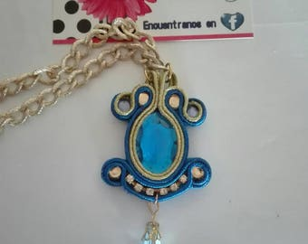 Soutache Pendant Blue/Gold