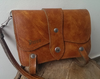 Vintage Beige Leather Wallet, Luxury Money Wallet, Kiss Lock Double Purse, Clutch Purse, Retro Wallet from Bulgaria from 1970s, Gift Idea