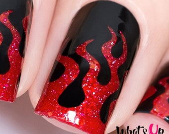 Fire Stencils for Nails, Halloween Nail Stickers, Nail Art, Nail Vinyls