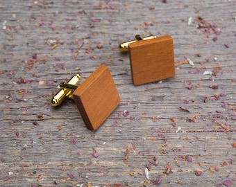 Wood Cuff links, Square kusia wooden cufflinks, Wedding monogrammed gift for groomsmen wooden cuff links set customized personalization