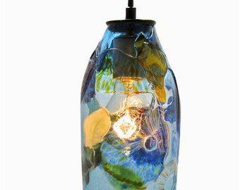 Handblown Glass Pendant Light - Riforma Recycled Glass - Blue and Green