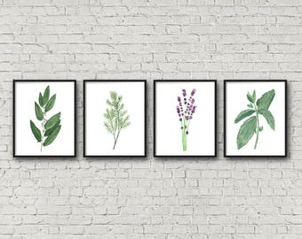 FRAMED Botanical Herb Watercolor Paintings, Kitchen Art, Fine Art Print, Herb Painting, Botanical Art, Gardener Gift, Gift for Mom, Garden