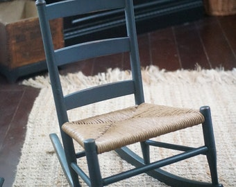 Restored vintage child's rocking chair with rush seat, ladder back rocker, Shaker style furniture, antique finish