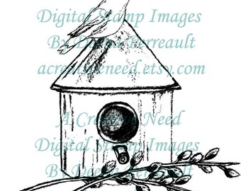 INSTANT Download Digital Stamp Image, Bird House and Willows, Scrapbook, cards, art journaling, patterns, crafts