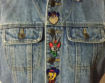 Looney Tunes Southwest Western Design Denim Button up Shirt XZ3QCtvvcG