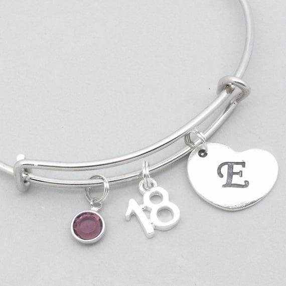 18th Birthday Heart Initial Bracelet 18th Birthday Jewelry