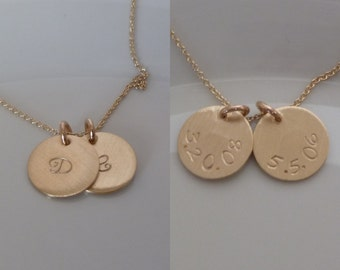 "Date on Back - Birthdate - Two 2 Discs - Gold Disc Necklace - 1/2"" 12.6mm  - Double Disc Gold-filled- Initial - Mother's - Double Sided"