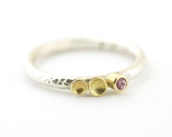 Pink Sapphire 18 Karat Gold Lichen Sterling Silver Hammered Band Stackable Ring Recycled