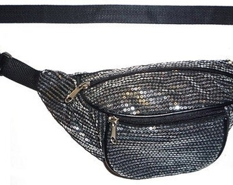 Silver Sequin Black Fabric Fanny Pack