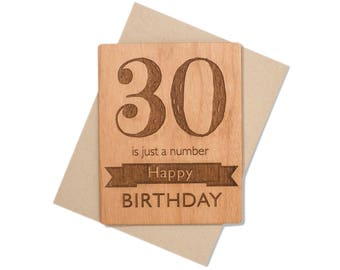 Milestone Birthday Card. 30th Birthday Gift Mini Wood Card for Her.